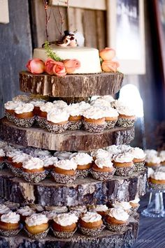 Rustic cupcake tower.