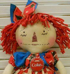 Coca Cola Raggedy Ann/Annie Handmade Primitive Doll HAFAIR by raggedyjaynes on Etsy https://www.etsy.com/listing/90008512/coca-cola-raggedy-annannie-handmade
