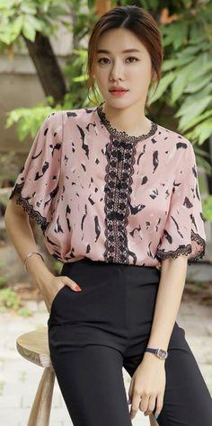 Korean Women`s Fashion Shopping Mall, Styleonme. Mature Women Fashion, Corporate Wear, Lace Trim, Ruffle Trim, Korean Women, Blouse Styles, Beautiful Gowns, Shirt Blouses, Korean Fashion