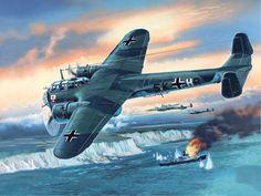 Bombardero Do-17 Z2 atacando mercantes británicos en el Canal, cortesía de ICM.