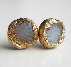 White gold dipped druzy stud earrings by jennleedesign on Etsy