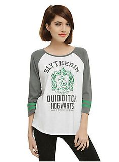 Available in up to 3x Raglan top from Harry Potter with a Slytherin  Quidditch athletic design abec5be2d5dbb