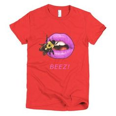 Short sleeve women's t-shirt Red with Bee on Purple Lips