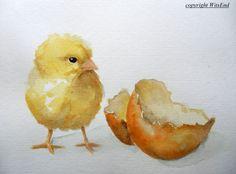 Bébé poussin peinture aquarelle poulet œuf pépinière d