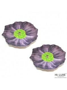 Buy Hi Luxe Flower Snack Plate Big Set Of 2 Pcs, Purple-00292E online at happyroar.com