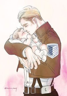 I really like the idea of him loving his son/daughter and the baby being one of the few things he puts before the Survey Corps Eren E Levi, Levi And Erwin, Erwin Aot, Armin, Attack On Titan Ships, Attack On Titan Levi, Attack On Titan Nanaba, Anime Guys, Manga Anime
