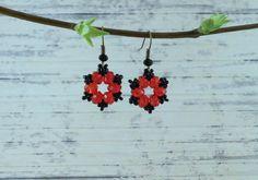 Red crystal earrings Red dangle earrings Beaded by KrysDoings