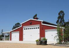 farm utility barns   Customized 3 bay steel barn for RV and utility storage, in farm red ...