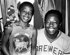 "Milwaukee's own Hank Aaron with 11 year old Oakland Athletics Bat Boy Stanley Kirk Burrell. Reggie Jackson nicknamed Stanley ""Hammer"" because of his striking resemblance to Aaron. The nickname stuck and nowadays, we know him as MC Hammer! Hank Aaron, Reggie Jackson, Bat Boys, Celebrities Then And Now, Oakland Athletics, Before Us, My People, Civil Rights, Celebrity Pictures"