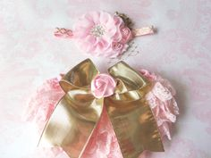 Pink and gold first birthday outfitruffle by CositaBellaCreations