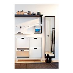 IKEA - STÄLL, Shoe cabinet with 4 compartments, white, , Helps you organize your shoes and saves floor space at the same time.In the shoe cabinet your shoes get the Ikea Design, Hallway Inspiration, Interior Inspiration, Style At Home, Small Apartments, Small Spaces, Ikea Shoe, Entry Hallway, Ikea Hallway