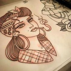 traditional tattoo, traditional lady tattoo