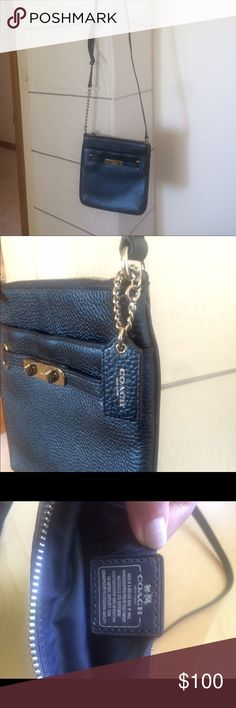 Coach navy swingpack Cross body handbag, adjustable strap. Can wear it on its own or fit it inside another bag. Coach Bags Crossbody Bags