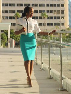 White Tuxedo Shirt, Teal Skirt, Nude Peep Toe Pumps by nusophisticate Business Chic, Business Outfits, Business Attire, Office Outfits, Business Fashion, Business Meeting, Office Fashion, Work Fashion, Women's Fashion