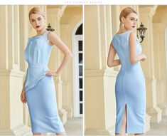 Tank Sky Blue Sleeveless Midi Cocktail Dress – Larole