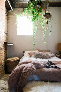 I love  the hanging plants and the rustic white brick with the exposed brick. Ceiling  is beautiful