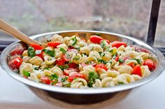 Easy Pasta Salad-- Tomato, basil, feta-- Serve as a side dish or add grilled chicken for a whole meal deal