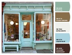 If I had an actual store location, I'd love this boutique look with aqua. Banco Exterior, Mein Café, Vintage Store, Etsy Vintage, Tee Shop, Shop Around, Shop Fronts, Store Design, Design Design