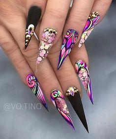 Purple Nails, Bling Nails, Swag Nails, Girls Nail Designs, Nail Art Designs, Fabulous Nails, Gorgeous Nails, Glamour Nails, Fire Nails