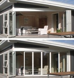 Foldedøre - stue bliver til udestue Home Fashion, House Styles, Outdoor Decor, Home Decor, Terrace, Decoration Home, Room Decor, Interior Design, Home Interiors