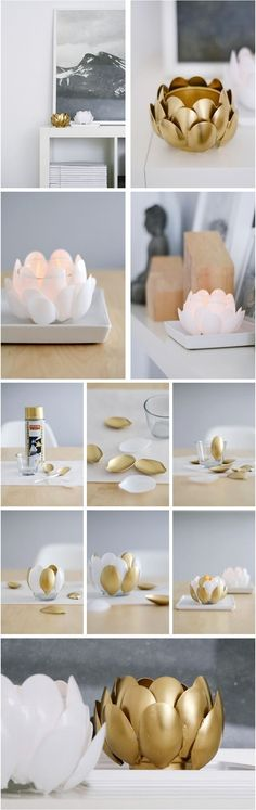 DIY Water Lilies - plastic spoon candle holder | 17 Easy DIY Home Decor Craft Projects