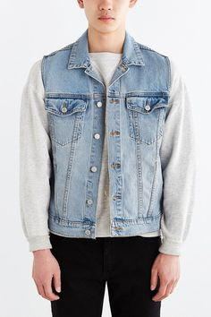 $89, Cheap Monday Staple Gilet Denim Trucker Jacket. Sold by Urban Outfitters. Click for more info: https://lookastic.com/men/shop_items/253808/redirect