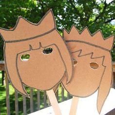 Sprookjes: Prinsen en Prinsessen - love these cardboard masks Fairy Tale Theme, Fairy Tales, Craft Activities, Toddler Activities, Cardboard Mask, Cardboard Train, Cardboard Houses, Diy Cardboard, Art Projects