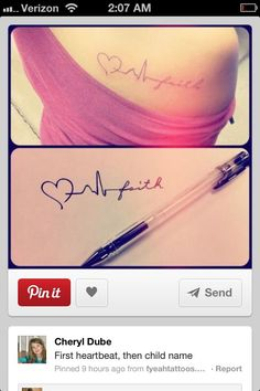 First heartbeat with kids name tattoo  Absolutely love this! Would have to contact doc for both kids heartbeat sonogram readings, but love it!!