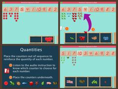 Learning to assign quantities to numbers! - the Cards & Counters app by Mobile Montessori