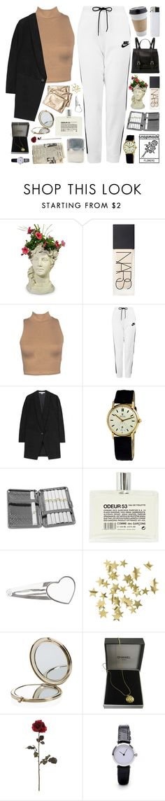 """feminism is the radical notion that women are human beings"" by celhestial ❤ liked on Polyvore featuring NARS Cosmetics, NIKE, STELLA McCARTNEY, Rolex, Chome, Comme des Garçons, H&M, Henri Bendel, Chanel and Ugo Cacciatori"