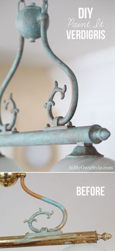 Age a shiny brass light fixture with craft paint to make it look like verdigris.  It is easier than you think to achieve.