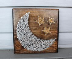 Moon and Stars String Art - Moon Decor - Star Decor - Nursery Decor - Nursery Wall Sign