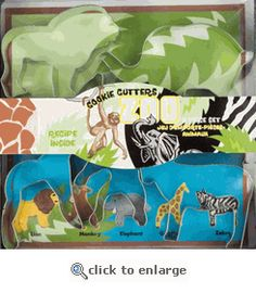 jungle animal cookie cutters - great for cutting out cheese for cheese and crackers.
