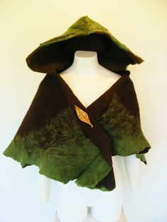 """""""Forest cloak""""  I made this from hand made felt and a copper pin"""