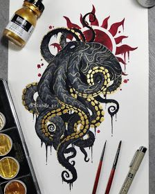 Mythology and Fantasy in Animal Paintings – octopus tattoo Octopus Tattoo Design, Octopus Tattoos, Octopus Art, Tattoo Designs, Octopus Sketch, Octopus Drawing, Tattoo Drawings, Cool Drawings, Body Art Tattoos