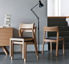 The Profile chair by Matthew Hilton is an elegant, stackable solid timber chair designed to be well-proportioned, subtle and comfortable.