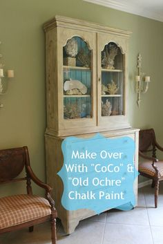 old ochre chalk painted wardrobe in gren room - Google Search