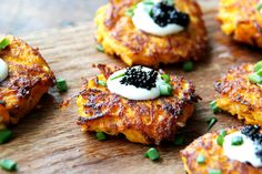 Sweet Potato Pancakes with Caviar and Crème Fraîche skip the caviar to make a vegetarian with eggs version..