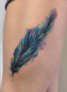 Not just a plain feather. Watercolor feather tattoo