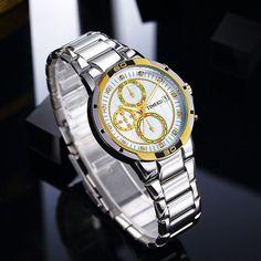 d2dc38ae6a0 Time100 Relógio Homem Cinta de Aço Inoxidável Cronógrafo Auto Data Luminosa  Rellógios Casuais Desportivos de Pulso