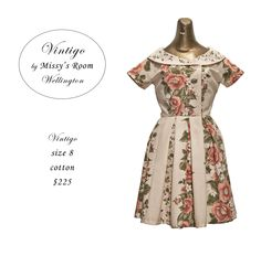 New dress, made by us in Wellington, from medium weight vintage cotton. Only two dresses were made from this fabric, SOLD