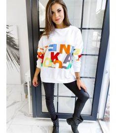 Dámska mikina Diurano biela Looks Great, Trousers, Graphic Sweatshirt, Composition, Sweatshirts, Jeans, Fitness, Sweaters, Cotton