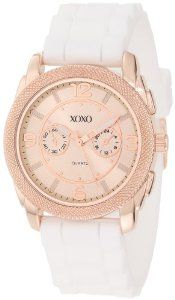 XOXO Women's XO8075 White Silicone Strap Watch XOXO. $19.99. Sub-dials are for decorative purposes only (does not function). Quality quartz movement. Case diameter: 38 mm. Buckle clasp. Rose gold-tone case