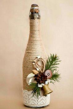 25 Best DIY Wine Bottle Christmas Decorations, Gifts, Crafts and More - Ethinify Glass Bottle Crafts, Wine Bottle Art, Diy Bottle, Decorative Wine Bottles, Twine Wine Bottles, Wrapped Wine Bottles, Bottle Labels, Beer Bottle, Vodka Bottle