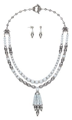 """Jewelry Design - Double-Strand Necklace and Earring Set with Swarovski Crystal, Antiqued Silver-Finished """"Pewter"""" Bead Cage and Antiqued Silver-Plated """"Pewter"""" Drops - Fire Mountain Gems and Beads"""