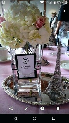 paris theme centerpieces theme centerpieces paris wedding centerpieces paris theme centerpieces them Chanel Party, Chanel Birthday Party, Paris Themed Birthday Party, Paris Themed Parties, Spa Birthday, Chanel Bridal Shower, Paris Bridal Shower, Paris Baby Shower, Bridal Showers