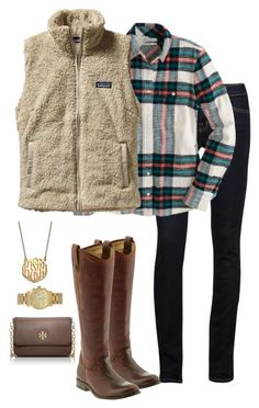 """""""So excited for fall clothes"""" by ragt ❤ liked on Polyvore featuring J Brand, J.Crew, Patagonia, Frye, Michael Kors, BaubleBar and Tory Burch"""