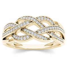 Zales 1/8 CT. T.w. Diamond Vintage-Style Braid Ring in Sterling Silver with Yellow Rhodium szUnHiaTfe
