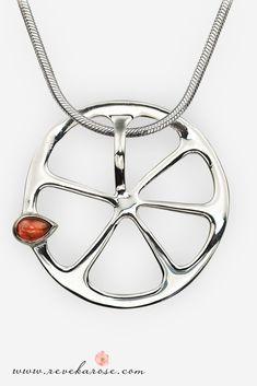 67fc4beae90e Zesty Appeal Orange Fruit Silver Pendant Necklace
