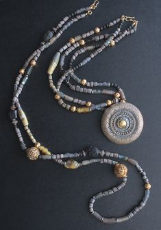 Two necklaces /Tibetan beads, Thai silver, African and Indonesian glass, Roman glass, lampwork, gemstones / One of a kind